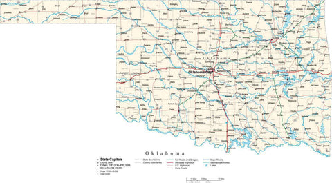 Oklahoma Map - Cut Out Style - with Capital, County Boundaries, Cities, Roads, and Water Features