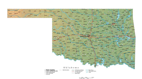 Digital Oklahoma State Illustrator cut-out style vector with Terrain OK-USA-242013