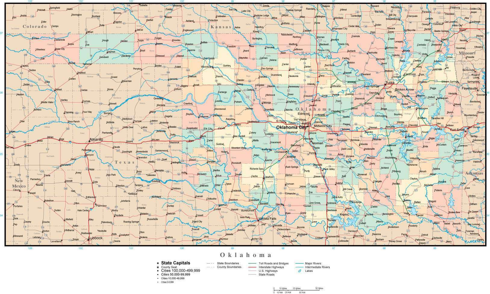 Oklahoma Adobe Illustrator Map with Counties, Cities, County Seats ...