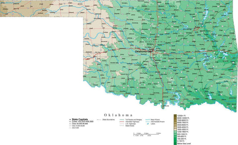 oklahoma map with contour background cut out style