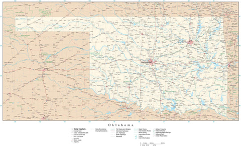 Poster Size Oklahoma Map with County Boundaries, Cities, Highways, National Parks, and more