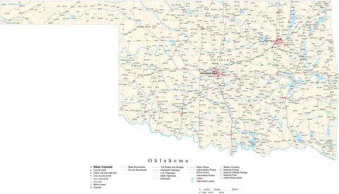 Detailed Oklahoma Cut-Out Style Digital Map with County Boundaries, Cities, Highways, and more