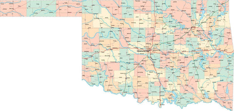 Oklahoma State Map - Multi-Color Style - Fit Together Series