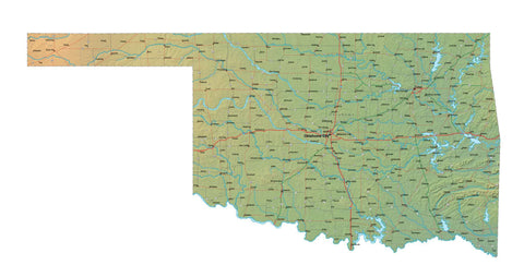 Digital Oklahoma map in Fit Together style with Terrain OK-USA-852120
