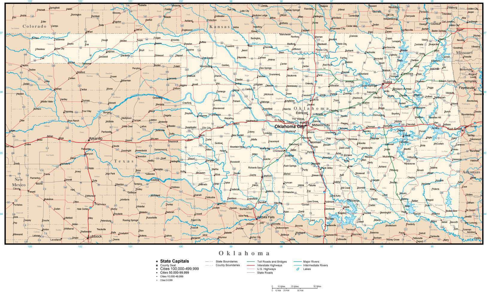 Oklahoma map in Adobe Illustrator vector format – Map Resources on