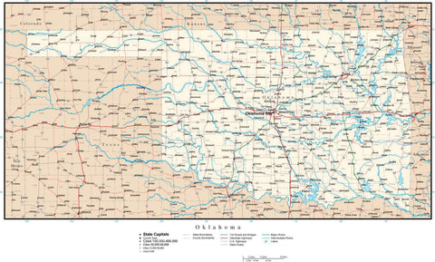 Oklahoma Map with Capital, County Boundaries, Cities, Roads, and Water Features
