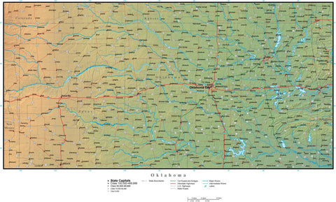 Digital Oklahoma Terrain map in Adobe Illustrator vector format with Terrain OK-USA-942224
