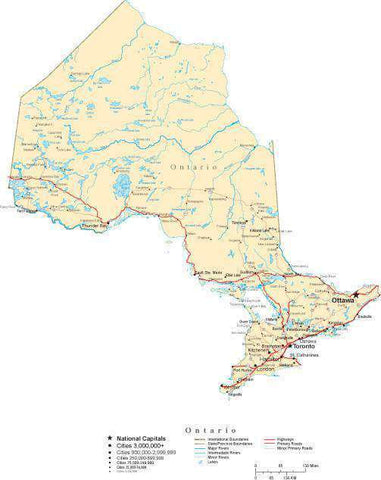 Ontario Province Map - Cut-Out Style