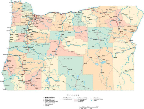 Oregon State Map - Multi-Color Cut-Out Style - with Counties, Cities, County Seats, Major Roads, Rivers and Lakes