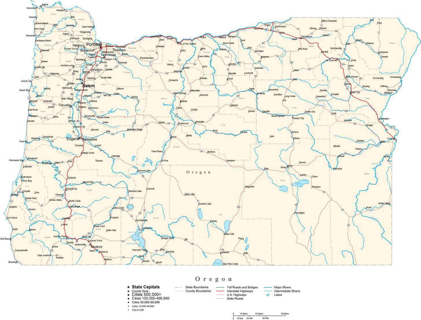 Oregon State Map in Fit-Together Style to match other states – Map ...