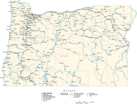 Oregon Map - Cut Out Style - with Capital, County Boundaries, Cities, Roads, and Water Features