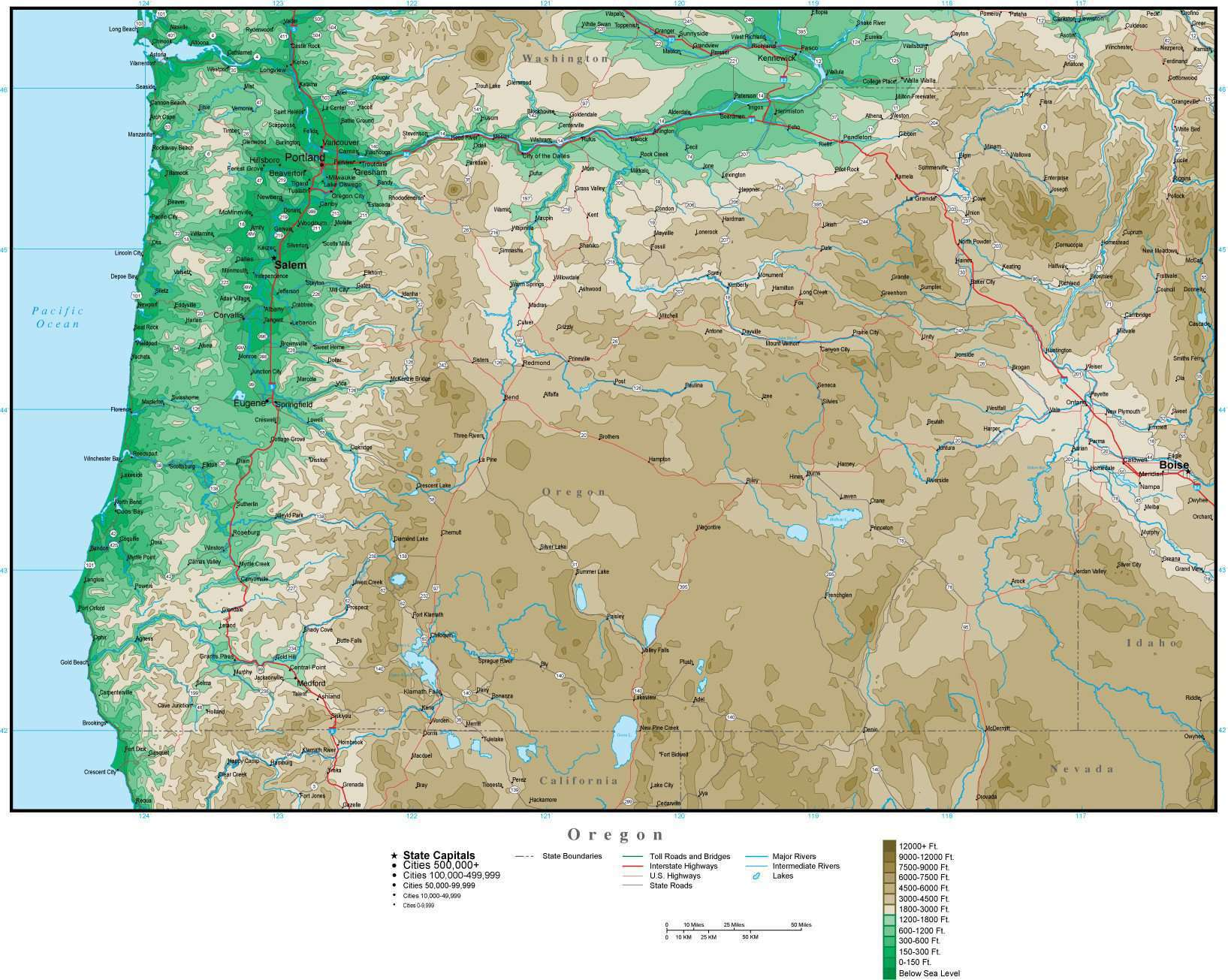 Digital Oregon Contour map in Adobe Illustrator vector format OR-USA ...