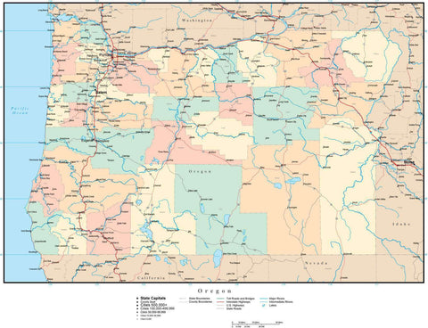 Oregon Map with Counties, Cities, County Seats, Major Roads, Rivers and Lakes