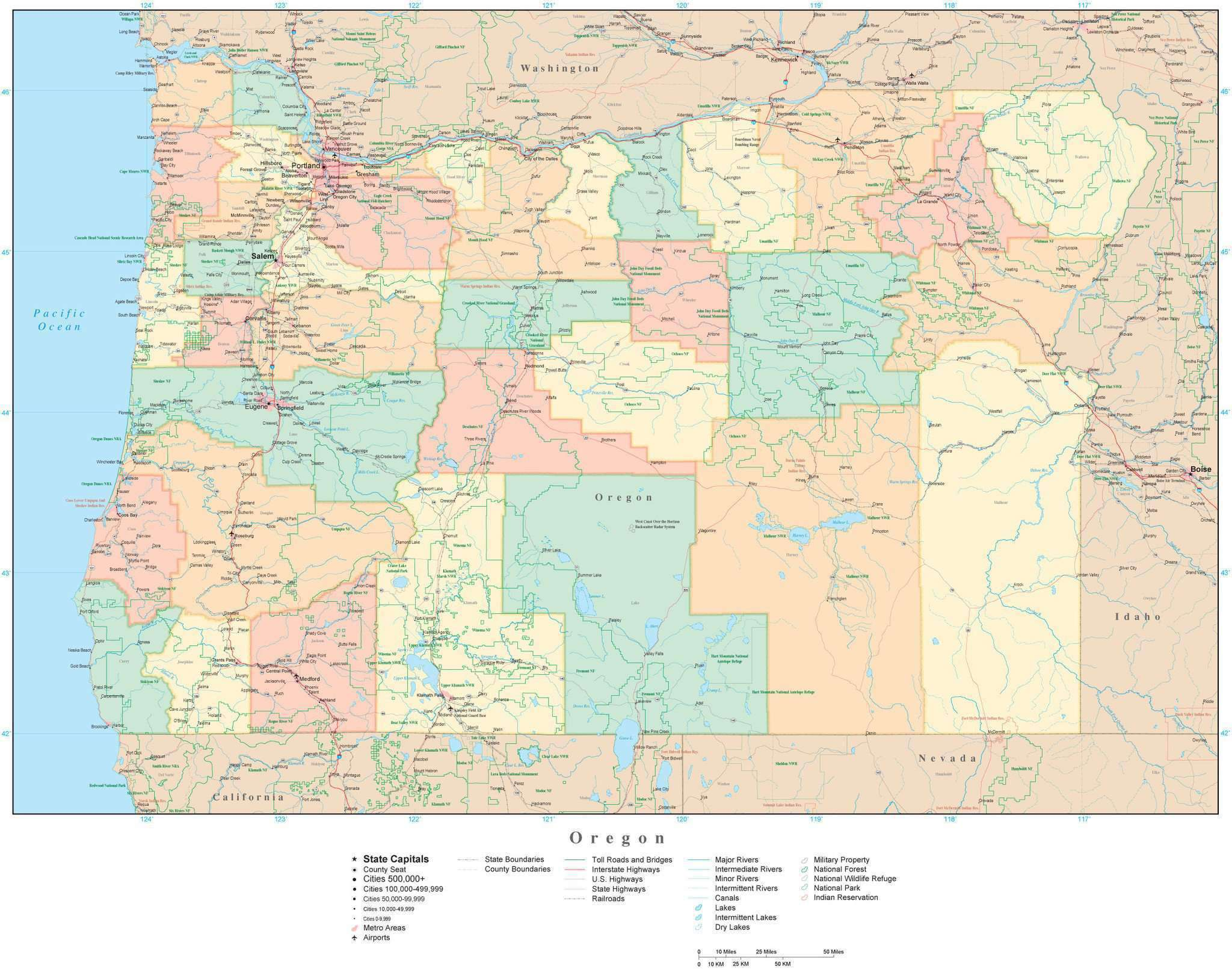 Oregon State Map With Counties.Oklahoma State Map In Adobe Illustrator Vector Format Detailed