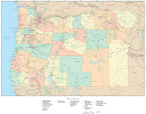 Poster Size High Detail Oregon Map with Counties, Cities, Highways, Railroads, Airports, National Parks and more