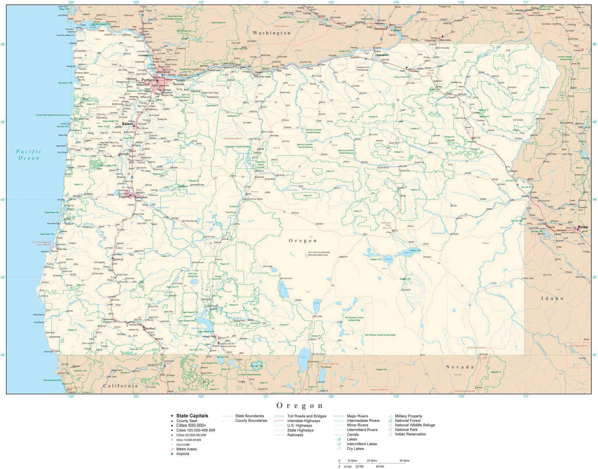 Detailed Oregon Digital Map With County Boundaries Cities Highways National Parks And More