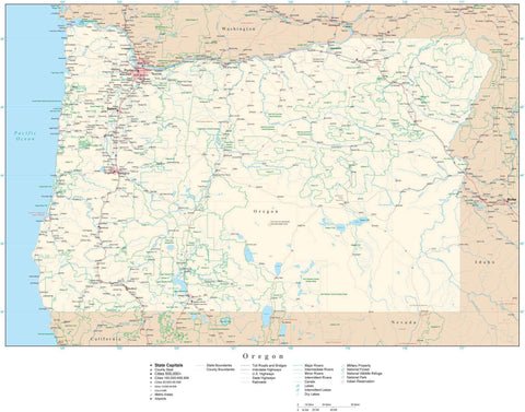 Poster Size Oregon Map with County Boundaries, Cities, Highways, National Parks, and more