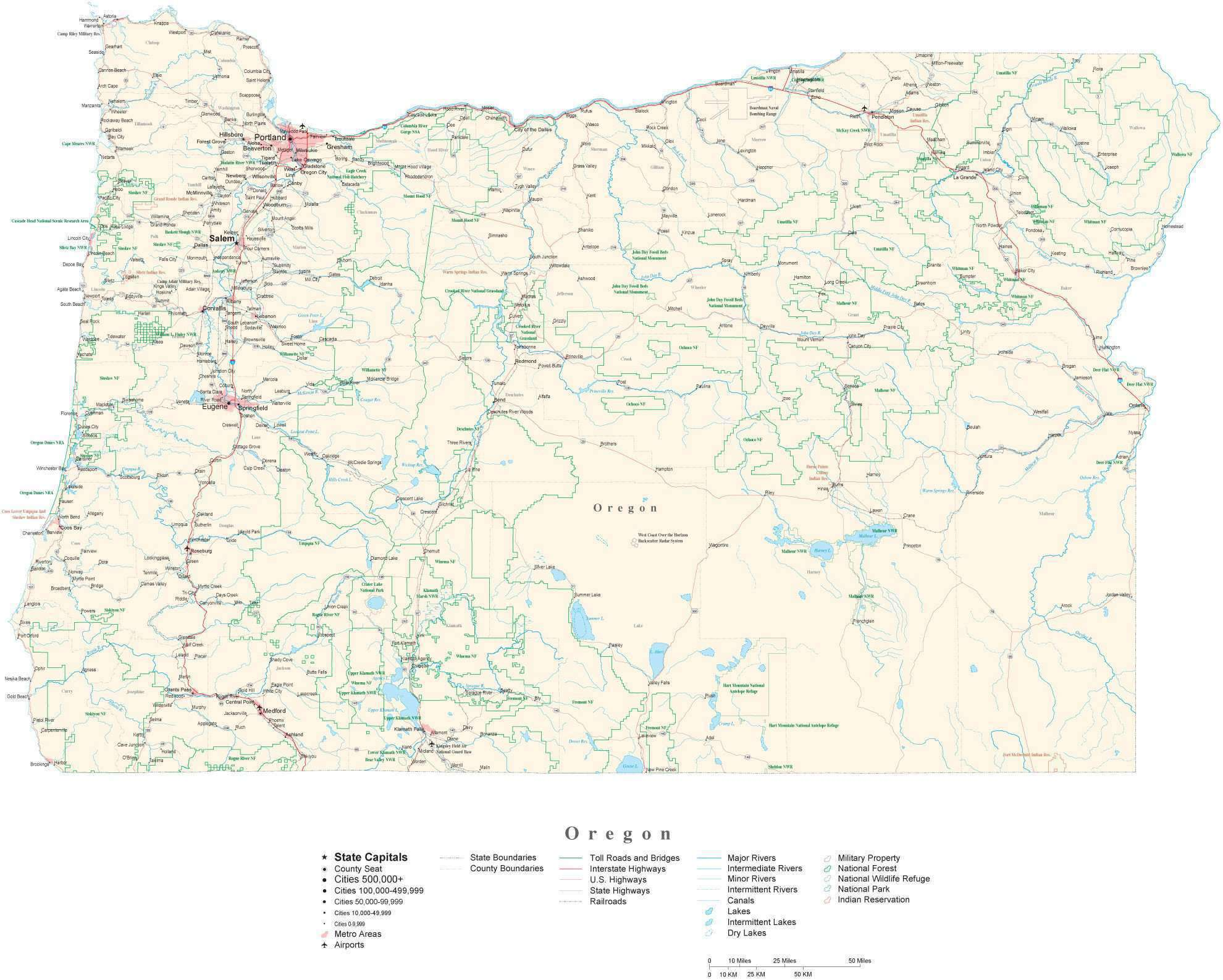 Detailed Oregon Cut Out Style Digital Map With County Boundaries Cities Highways National Parks And More