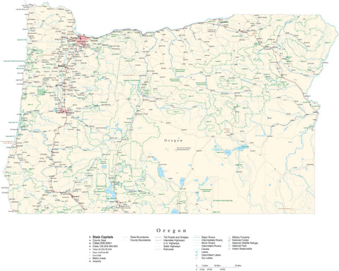 Detailed Oregon Cut-Out Style Digital Map with County Boundaries, Cities, Highways, and more