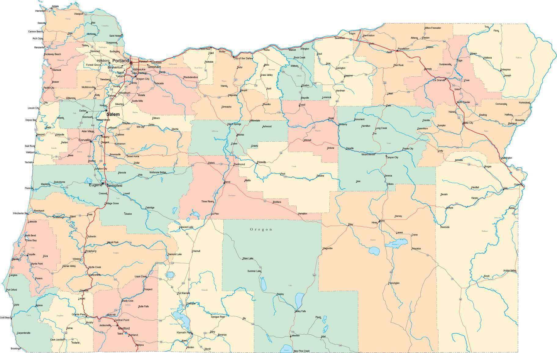 Oregon State Map Multi Color Style Fit Together Series