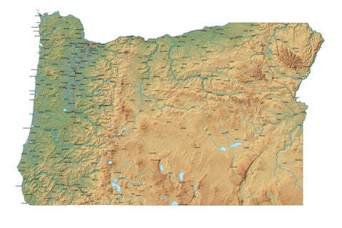 Digital Oregon map in Fit Together style with Terrain OR-USA-852107