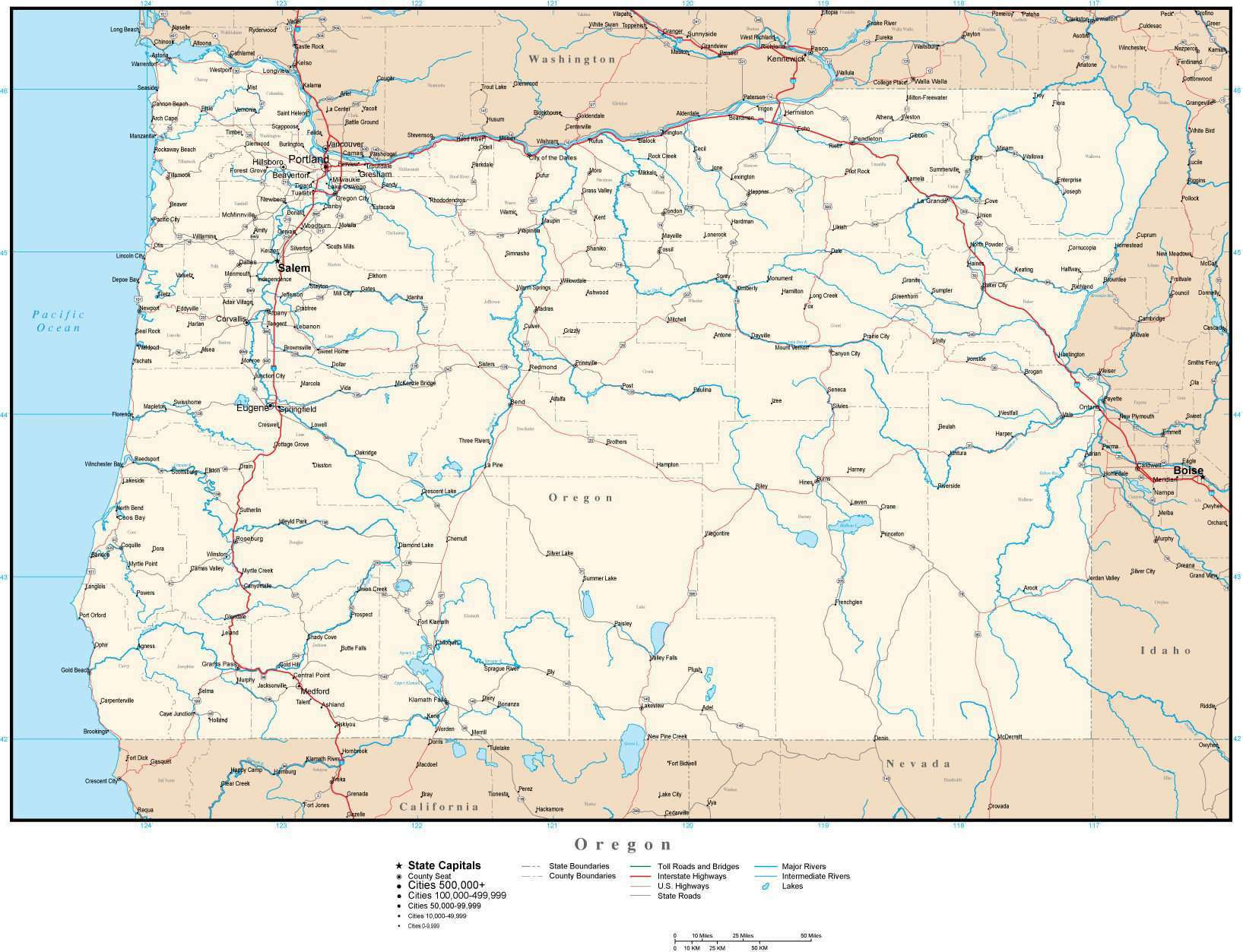 Oregon map in Adobe Illustrator vector format – Map Resources