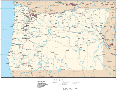 Oregon Map with Capital, County Boundaries, Cities, Roads, and Water Features