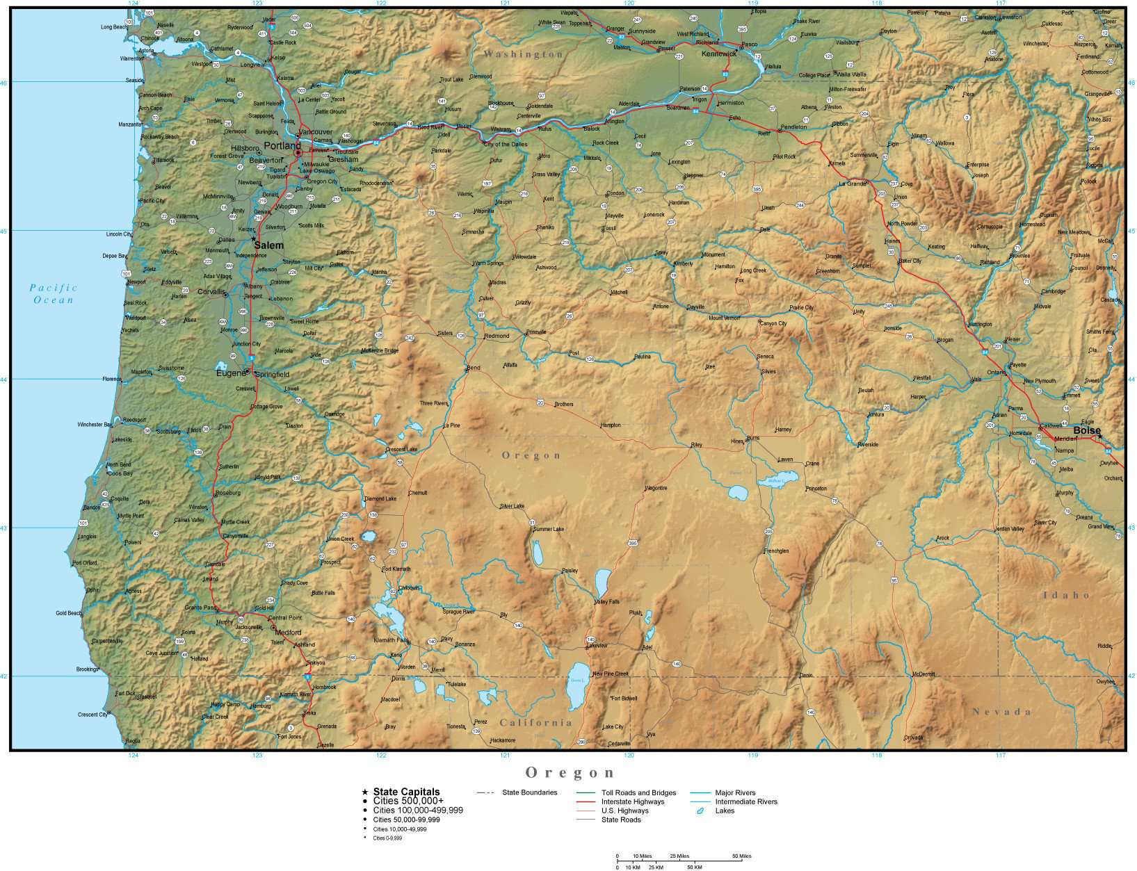 Oregon Map Plus Terrain with Cities Roads and Water Features