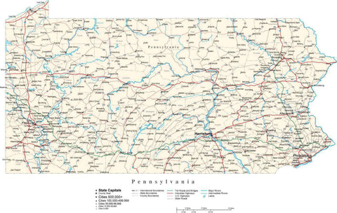Pennsylvania Map - Cut Out Style - with Capital, County Boundaries, Cities, Roads, and Water Features
