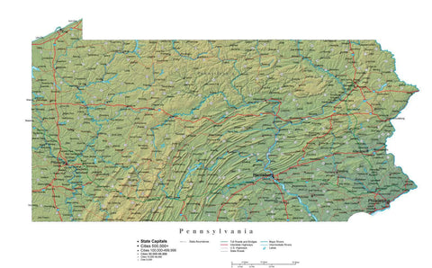 Digital Pennsylvania State Illustrator cut-out style vector with Terrain PA-USA-242021