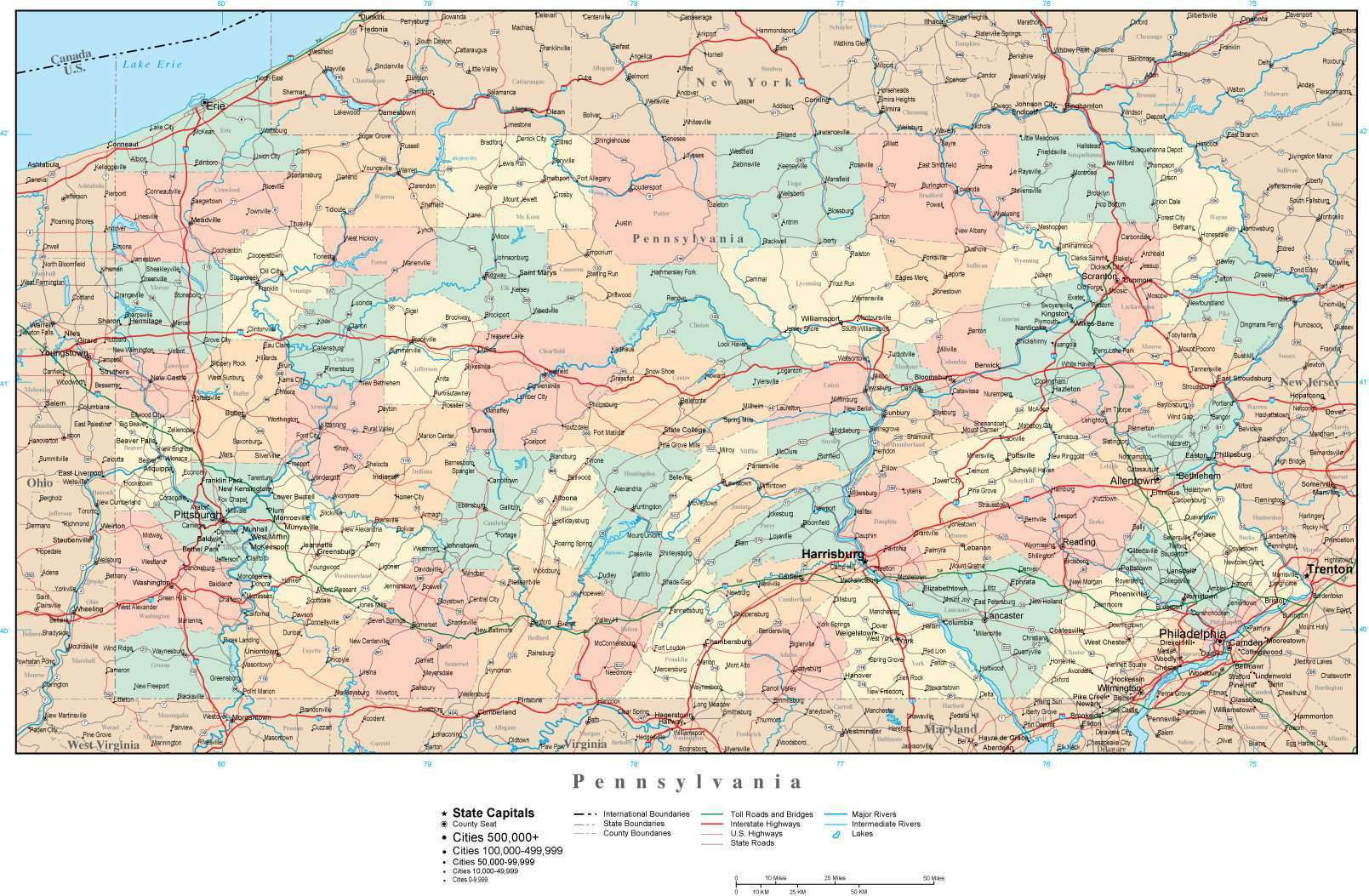 Pennsylvania Adobe Illustrator Map with Counties, Cities, County ...