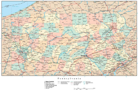 Pennsylvania Map with Counties, Cities, County Seats, Major Roads, Rivers and Lakes