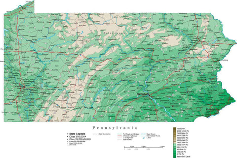 Pennsylvania Map  with Contour Background - Cut Out Style