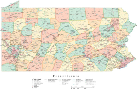 Detailed Pennsylvania Cut-Out Style Digital Map with Counties, Cities, Highways, and more