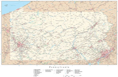 Poster Size Pennsylvania Map with County Boundaries, Cities, Highways, National Parks, and more