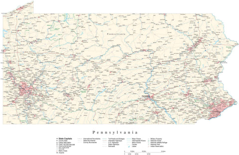 Detailed Pennsylvania Cut-Out Style Digital Map with County Boundaries, Cities, Highways, and more