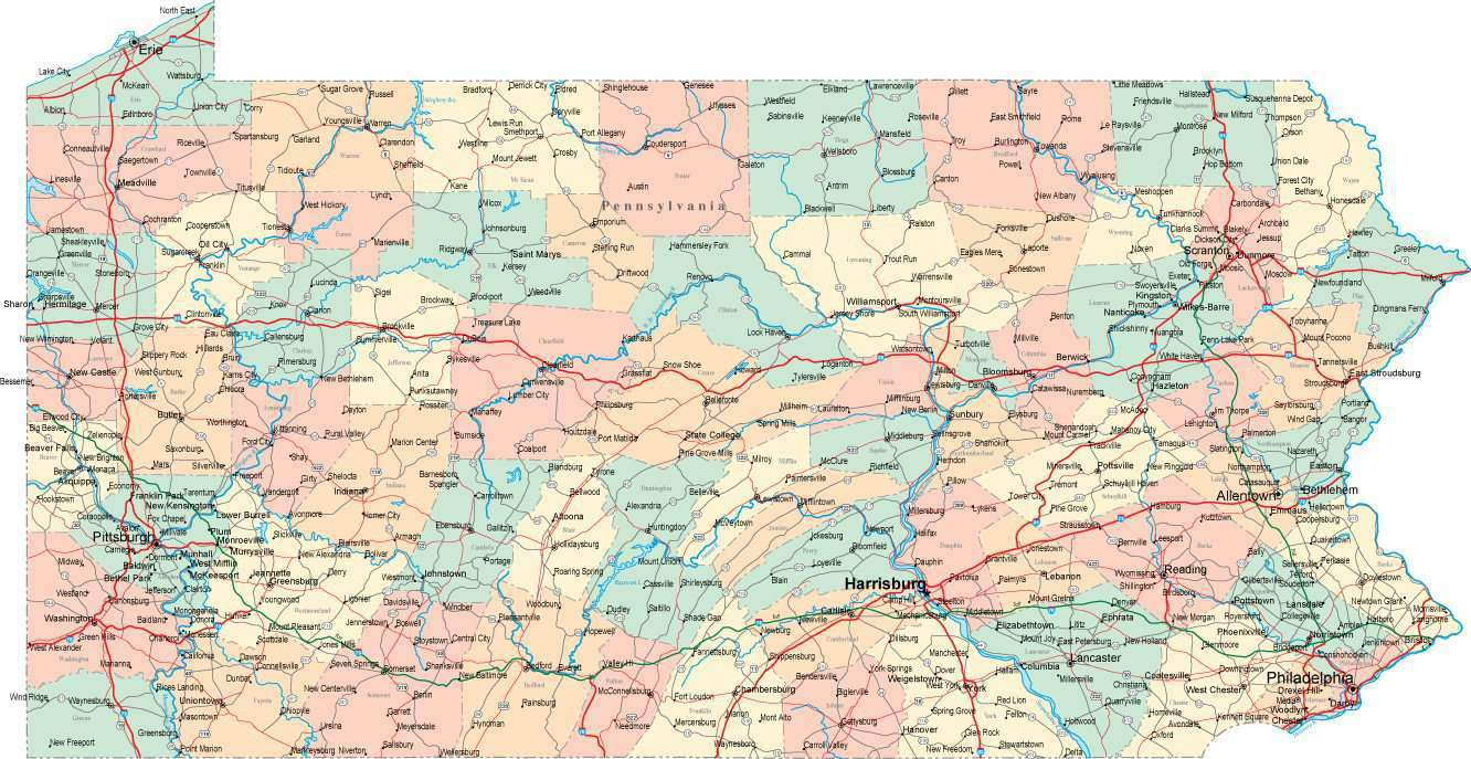 Pa Usa Map.Digital Pennsylvania State Map In Multi Color Fit Together Style To