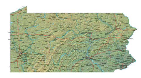 Digital Pennsylvania map in Fit Together style with Terrain PA-USA-852115
