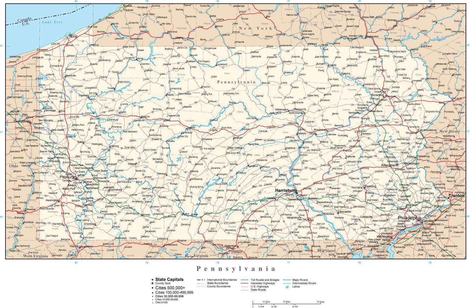 Picture of: Pennsylvania Map In Adobe Illustrator Vector Format