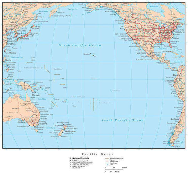 Pacific Ocean Map with Countries, Islands, and Cities ... Pacific Ocean On Map