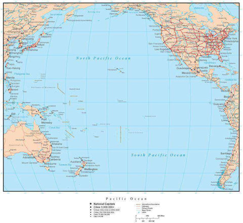 Pacific Ocean Map with Countries, Capitals, Cities, Roads and Water Features