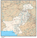 Pakistan Digital Vector Map with Provinces, Cities, Rivers and Roads