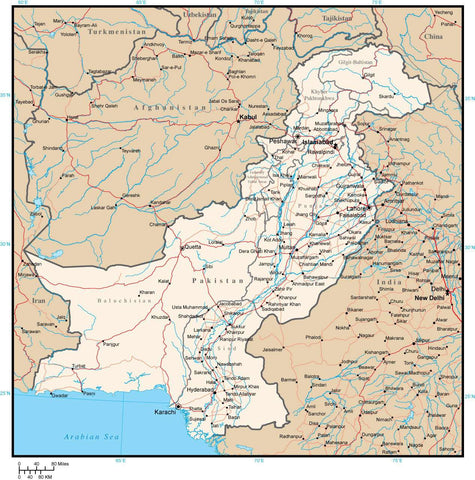Pakistan with Provinces  Cities  Rivers and Roads