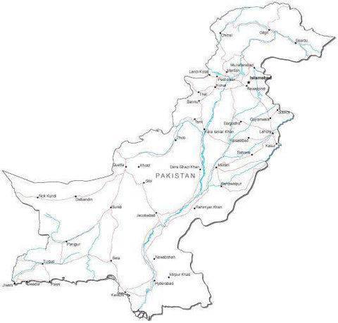 Pakistan Black & White Map with Capital, Major Cities, Roads, and Water Features