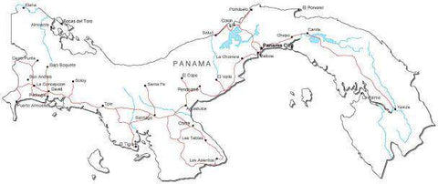 Panama Black & White Map with Capital, Major Cities, Roads, and Water Features