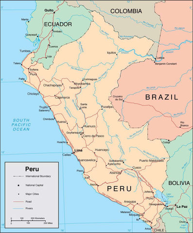 Digital Peru map in Adobe Illustrator vector format