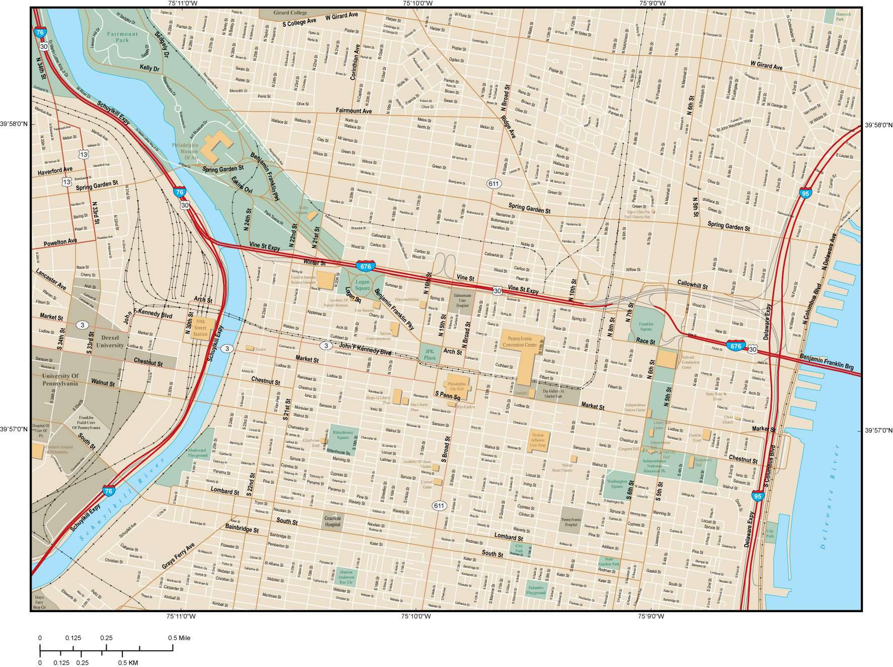 Map Of Philadelphia And Surrounding Area on