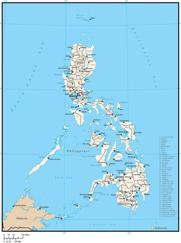 Philippines Digital Vector Map with Province Areas
