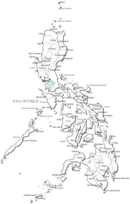 Philippines black white road map in adobe illustrator vector touch to zoom gumiabroncs Gallery