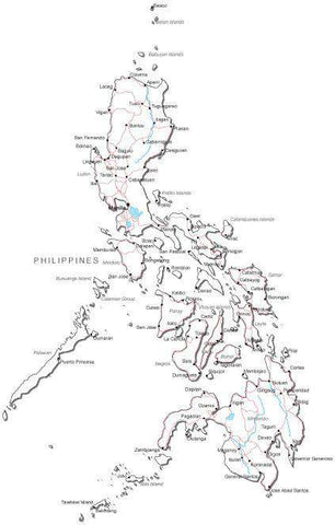 Philippines Black & White Map with Capital, Major Cities, Roads, and Water Features
